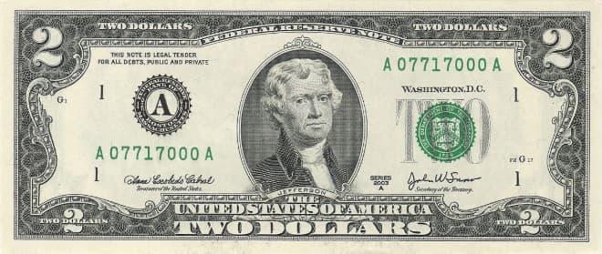 Hình ảnh tờ 2 USD