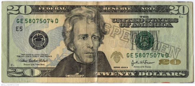 Hình ảnh tờ 20 USD