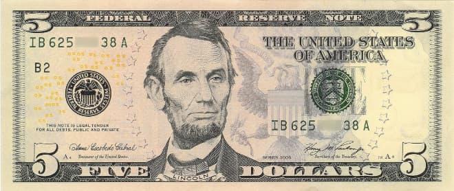Hình ảnh tờ 5 USD