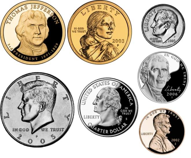 Mệnh giá các đồng xu USD và Cent kim loại