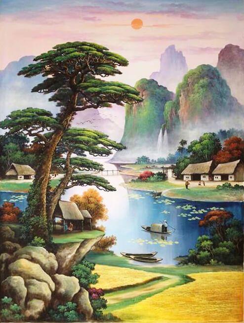 Tranh vẽ phong cảnh rừng núi