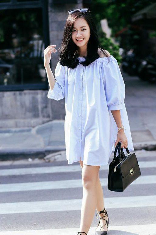 Hình ảnh gái xinh mặc áo trễ vai đẹp
