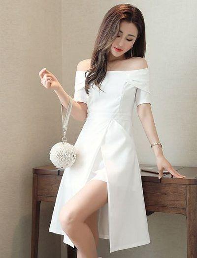 Hình ảnh gái xinh mặc áo trễ vai màu trắng dịu dàng