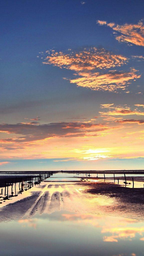 Hình nền điện thoại bầu trời và bờ biển đẹp