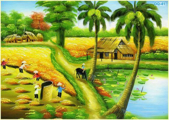 Tranh vẽ phong cảnh quê hương